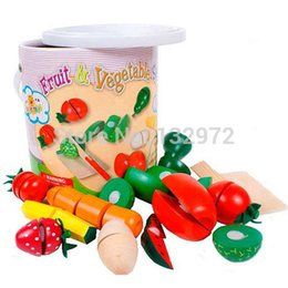 Wholesale Toy Cutting Fruits Vegetables - Wholesale-Free shippng, 2015 new arrival, children's educational toy wooden toy play house , wooden fruit and vegetable cutting set P7