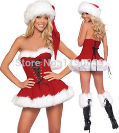 Wholesale Christmas Hat Adult - Wholesale-Hot Sales Sexy Christmas Costumes for Adult Red Strapless Corset Top+Skirt+Hat Santa Claus Costumes Fantasy Sensual Women