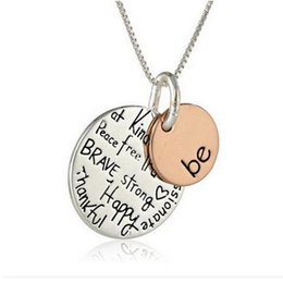 Wholesale Words Circle Pendant - Whimsical Jewelry Simple Be brave and Keep Going With Word Statement Pendant Necklace For Women Stainless Steel