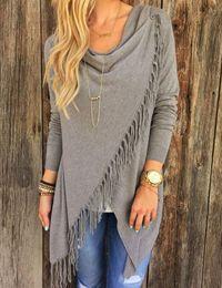 Wholesale Long Sleeve Cardigans Wholesale - New Hot Women's Fringe Cardigan Tassel Decorated Asymmetric Hem Grey T Shirt