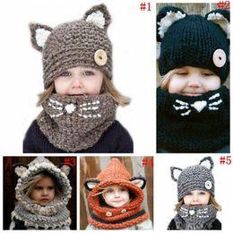 Wholesale Kawaii Winter Hats - Kawaii Cat Fox Ear Baby Knitted Hats with Scarf Set Winter Windproof Kids Boys Girls Warm Shapka Caps Children Beanies B493
