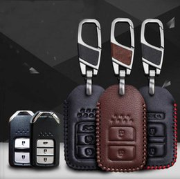 Wholesale Honda Accord Remote Control - Honda CR-V XR-V Accord Crosstour Fit Vezel CITY Hand-stitched leather key case intelligent remote control package special car