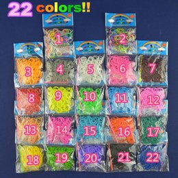 Wholesale silicone loom bands - 22 colors for choice HOT SALE Factory-Direct-Sale High Quality Solid Color loom Rubber bands 200 peices with opp package