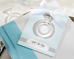 Presentes nupciais exclusivos do partido on-line-Único anel de aço inoxidável bookmarks favores do casamento e presentes de anel de noivado marcador Bridal favores para presentes do partido