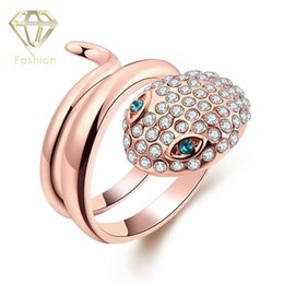 Wholesale Retro Bar Accessories - New Punk Style Animal Snake Wrap Ring Wedding Party Jewelry Cocktail Accessories Female Crystal Retro Vintage Rings for Women