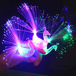 Wholesale Nightclub Decorations - Peacock LED Fiber Finger Beams Party Nightclub Glow Light Ring Torch Children'Day High Quality Flashing Toy Festive Supplies