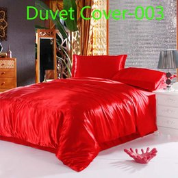 Wholesale Pink Full Comforter - luxury red blue Satin Imitate Silk 1pcs Duvet Cover Quilt Cover Twin Full Queen King size Bed Comforter Cover Bedding Bedclothes Bedding bag