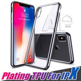 Wholesale Iphone Gold Plating Case - Ultra Thin Electroplating Plating Soft Clear TPU Case For Iphone X 10 8 7 Plus Back Cover Mobile Phone Cases
