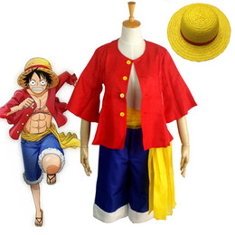 Wholesale one piece luffy costume - One piece Monkey D. Luffy Cosplay Costumes Shirt Pants Wigs Shoes Summer Clothing Set For Halloween Party Christmas