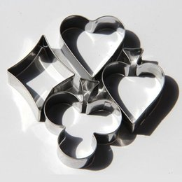 Wholesale Card Clubs - 4pcs set Poker Cookie Mold Stainless Steel Playing Cards Cake Mold Spade Heart Club Diamond Biscuit Cutter ZA5175