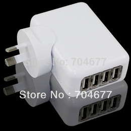 Wholesale Au Usb Wall Charger White - Wholesale-New 4-Port USB Power Adapter Charger with AU Wall Plug Adapters - White Free Shipping Drop Shipping