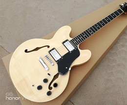 Wholesale Electric Shows - Free Shipping NEW Custom 335 Jazz Electric Guitar Semi Hollow Body Archtop Guitar Natural Maple Top Real photo showing