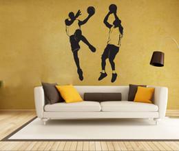 Wholesale Sports Wall Mural Wallpaper - Two Basketball Player Wall Art Mural Decor Sport Boys Home Decoration Wallpaper Decor Sticker Wall Art Applique Poster