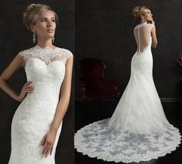 Wholesale Sequin Laciness - Stunning Mermaid Wedding Dress 2015 Laciness Crew Neck Ivory Lace Cap Sleeves Appliques Covered Button Back Court Train Custom Bridal Gowns