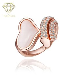 Wholesale Lovely Ring Diamond - 2015 New Design Lovely Heart Shaped with Simulated Diamond Ring Jewelry for Couples Wedding Party Wholesale