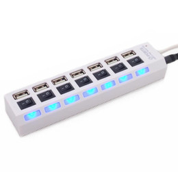Wholesale powered usb splitter - Seven Port USB 2.0 HUB Power Charger Splitter Strip for Laptop PC Flash Disk ON OFF Switch LED Light usb Hubs with Retail Box