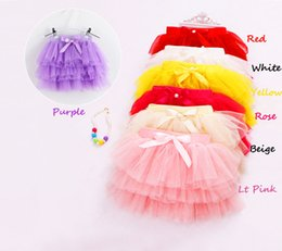 Wholesale Girls Wearing Pettiskirts - New Kid girls fluffy pettiskirts tutu Princess party skirts With bowknot Ballet dance wear 3-11years 7 Colors Free shipping
