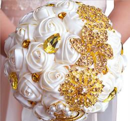 2019 fleurs roses ivoire Bouquets de mariée de mariage magnifiques fleurs d'or ivoire Bouquet de mariage artificiel nouveau cristal sparkle 2016 bouquet de mariée fleurs roses ivoire pas cher