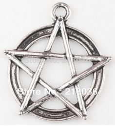 Wholesale Wicca Charms - Fashion Vintage 50pcs Tibetan Silver Pentagram Gothic Wicca Paga Alloy Charm Pendant For Bracelet Jewelry Findings Girls Bijoux M789
