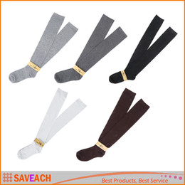 Wholesale Knee High Hose Wholesale - 1Pair Fashion Womem Long Cotton Socks Over Knee Thigh High Hose Trendy 7 Colors Free Shipping