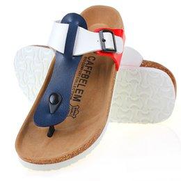 Wholesale Wholesale Flip Flops Buckle - Wholesale- Free Shipping 2016 Men Cork Slippers Men Summer Sandals Flats Flip Flops Plus Size Zapatos Mujer Sandalias Femininas Mix Color