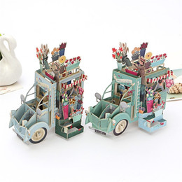 Wholesale Wholesale Handmade Wedding Invitation Cards - Creative Greeting Card Handmade 3D Flowers Car Pop Up Invitation Cards For Wedding Valentine Festival Gift 5 8qh C
