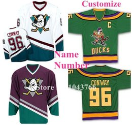 Wholesale Ice Hockey Games - Custom Any Name Any Number Green White Purple Men's Women Youth 96 Charlie Conway Jerseys Mighty Ducks Movie Jerseys Game Worn 1993-94 Away