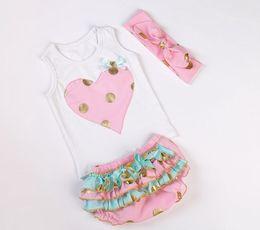 Wholesale Girls T Shirt Leopard - 0-1years girls summer dot clothing sets baby gold headbands + sleeveless heart vest t-shirt + lace ruffle shorts kids 3pcs boutique outfits