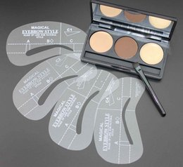 lápiz corrector impermeable Rebajas 2014 NUEVOS 3 colores de cejas que forman la paleta de polvos + 4 plantillas + kit de maquillaje de cera de cejas cosméticos envío gratis