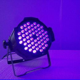 Wholesale Dj Uv Lights - DMX512 54x3W DJ Lighting Blacklight Performance 162W Black Light DJ UV LED PAR 64 Dmx or Stand alone for Party Disco DJ School using