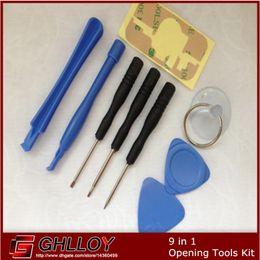 separador de tela para celular Desconto 9 em 1 chave de fenda otário pry repair tool set abertura definido para iphone 4 4s 4g 5 5c 5s 6 6 plus 100 pçs / lote