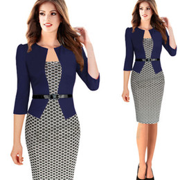 Wholesale Long Sleeved Pencil Dresses - dresses woman Newest Fashion Wholesale Career Ladies Formal Working Dresses 2016 Knee-length long-sleeved plaid stitching fake two sets c