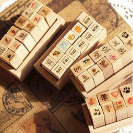 Wholesale Mini Postcards - Lovely MINI DIY Wood Stamp Sketch Photo Postcard Decoration Scrapbooking Art Logo Stamps Wood Box Pack 12pcs SK766