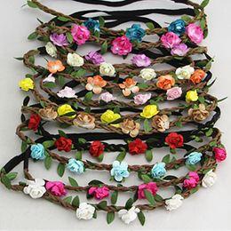 Wholesale Women Hair Band Silk - Hot sale Bride Bohemian Flower Headband Festival Wedding Floral Garland Hair Band Headwear Hair Accessories for Women