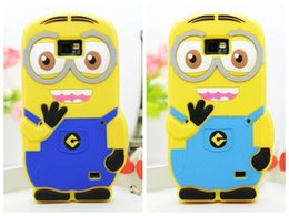 Wholesale Case S2 3d - Wholesale-Cute 3D Minions Despicable Me 2 Soft Silicon Silicone Cases Cover fors Samsung Galaxy SII S2 I9100 +1x Pen + 1pcs Flim