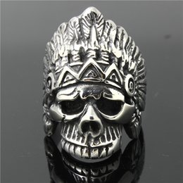 Wholesale Skull 316l - 316L Stainless Steel Mens Indian Skull Ring Biker Ring Christmas Gift