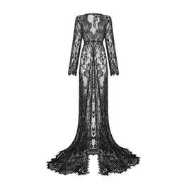 Wholesale Photography Evening Dress - Wholesale- Long Womens Maternity Lace Evening Photography Dress Party Ball Gown Prom See-through Dress Size 6-14