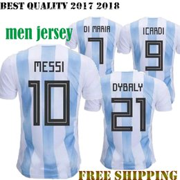 Wholesale Best New Homes - New 2018 ARGENTINA Adults soccer Jersey 17 18 MESSI men home DI MARIA AGUERO MARADONA football shirt customize World Cup Best Quality Jersey