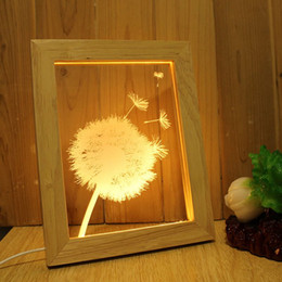 Wholesale Wholesale Led Lighted Pictures - Wholesale Home Decor, Acrylic 3D, LED Modern Living Table Light Mini USB Mood Lamp Bedroom Picture Frame, Dimmable