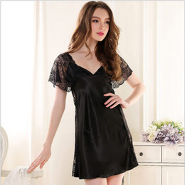 Wholesale Short Pink Night Dresses - Women Sexy Silk Satin Lace Nightgowns Short Sleeve Night dress Deep V-neck Nightdress Amazing Sleepwear Nightwear For Summer