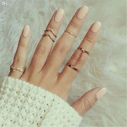 Wholesale Punk J - Wholesale-2015 new 6pcs  lot Shiny Punk style Gold plated Stacking midi Finger Knuckle rings Charm Leaf Ring Set for women Jewelry J-081
