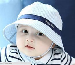 Wholesale Infant Baby Bucket Hat Wholesale - Toddler Infant Sun Cap Summer Outdoor Baby boy Girl Hats Sun Beach Bucket Hat Striped cotton baby basin cap 3 colors JIA376