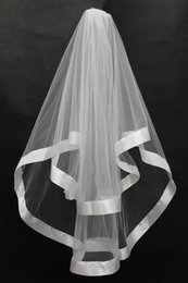 Wholesale cheap ivory veils - Elegant White Two-Layer Short Bridal Veils With Satin Edge Ivory Tulle Cheap Wedding Veil Wedding Accessory Free Shipping In Stock