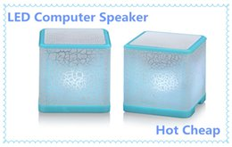 Wholesale Cheap Speakers Subwoofer - Hot Sale Good cube Computer Speakers LED Colorful Speaker Best Home Subwoofer Cheap Price Laptop Music Player