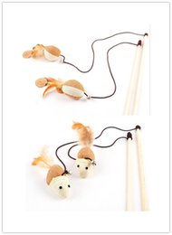 Wholesale wooden poles - Free shipping pet cat toy natural wooden stick cat fishing pole toy rod eco-friendly mouse ball 10pcs lot