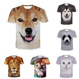 Wholesale White Gray Tiger Cats - w151231 OPCOLV 2015 New Fashion 3d Printing Lovely Animal Dog Cat Tiger Lion Wolf t shirt Casual Men Graphics tshirts Short Sleeve Tops
