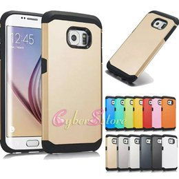 Wholesale S4 Cover Tpu Silicone - For Galaxy S6 S7 Edge plus Armor Hard Hybrid TPU PC Rubber Phone Back Case Cover For Samsung S5 S4