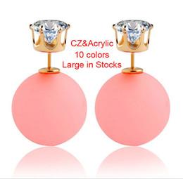 Wholesale Earrings Studs Zircon Sizes - Cubic Zircon Acrylic Faux Pearl Matte Double Sided Gold Stud Earrings Reversible 2 Sizes Ear Stud For Women 10 Colors Large in Stocks