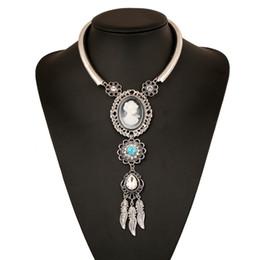 Wholesale Gem Acrylic Collar - European Women Cameo Beauty Portrait Gem Leaf Tassel Choker Collar Necklace Retro Silver Bib Necklaces Jewelry