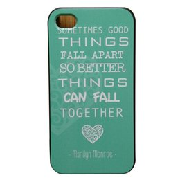 Wholesale Marilyn Monroe Iphone - Wholesale Marilyn Monroe Quote Love Turquoise Hard Plastic Mobile Case Cover For iPhone 4 4S 5 5S 5C 6